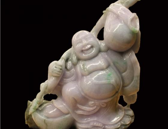 Phật di lạc ngọc phỉ thúy để bàn gia đình an yên