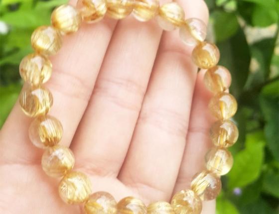 Vòng tay phong thủy - thạch anh tóc vàng A02